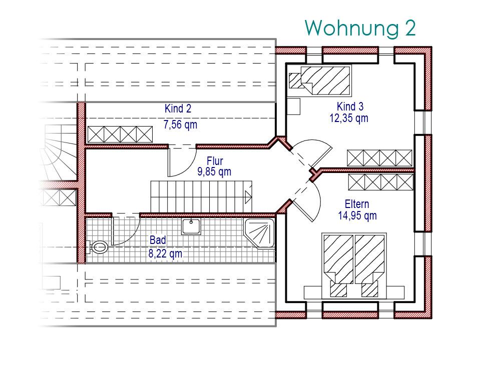 Grundriss Dachgeschoss Wohnung 2, große Ferienwohnung über zwei Etagen