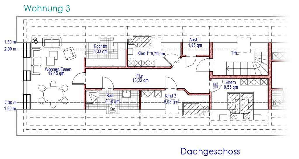 Grundriss Dachgeschoss Wohnung 3