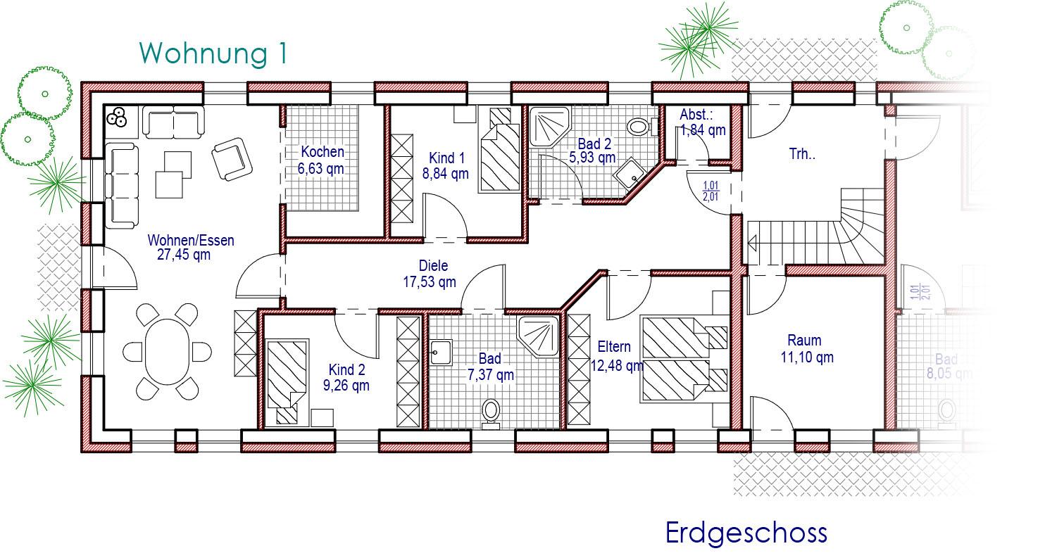 Grundriss barrierefreie Erdgeschoss Wohnung 1